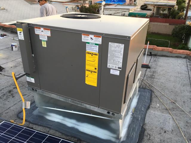 Los Angeles, CA - Installed a full package unit on rooftop in the city of Los Angeles, CA.