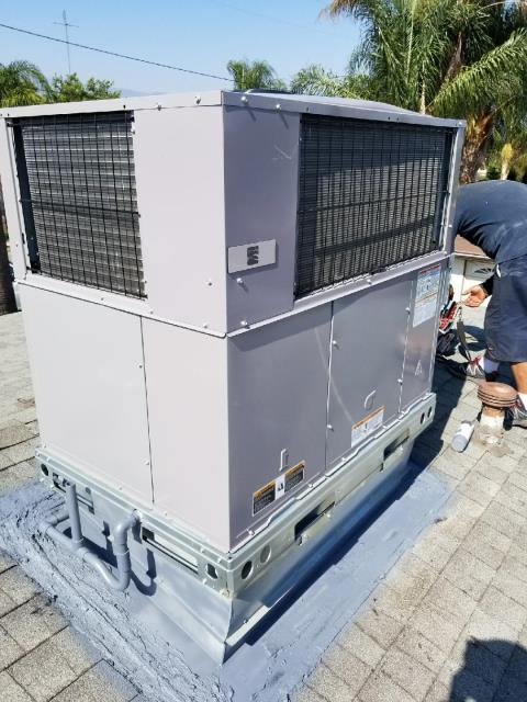 San Bernardino, CA - Replaced a full package unit on rooftop in the city of San Bernardino, CA.