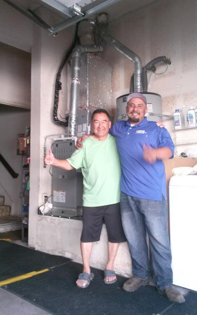 Ontario, CA - Giving Joy to the Gudiel Family! Condenser, coil and furnace installation in the city of Ontario