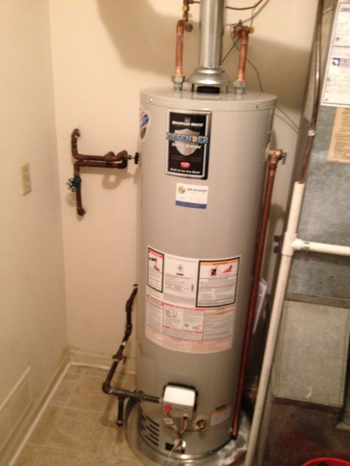 Naperville, IL - Install new 40 gallon Bradford white water heater with a new valve, water heater pan to sit in, and new valve for the humidifier