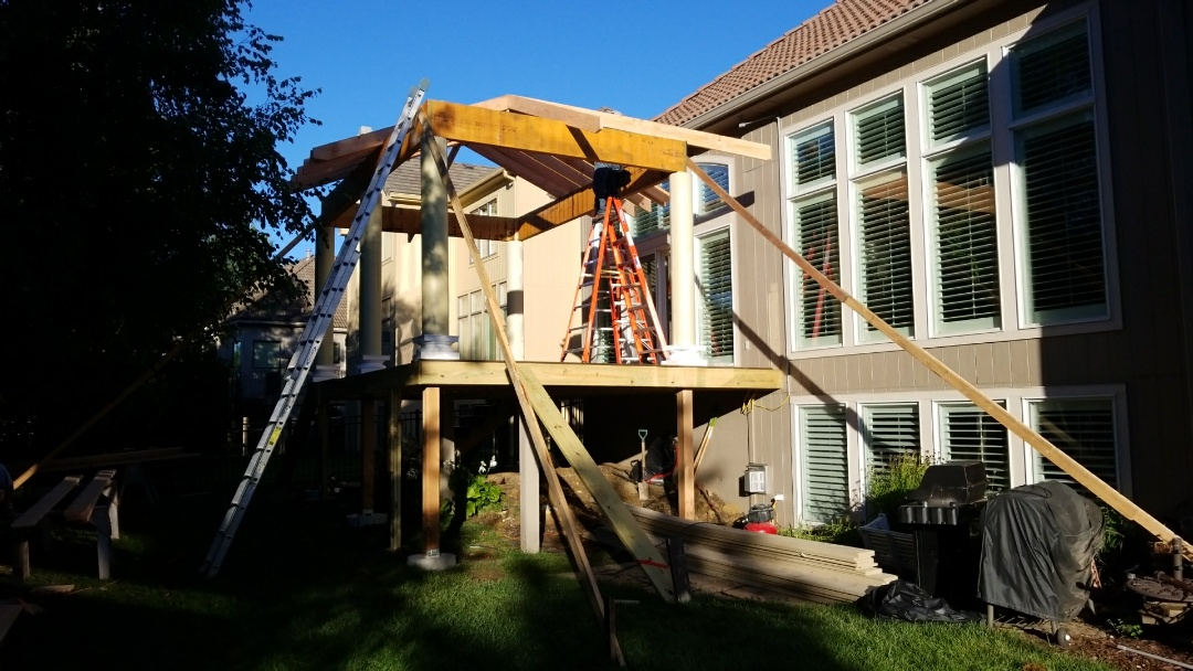 Overland Park, KS - Building new composite TimberTech deck with gazebo roof structure in Overland Park.