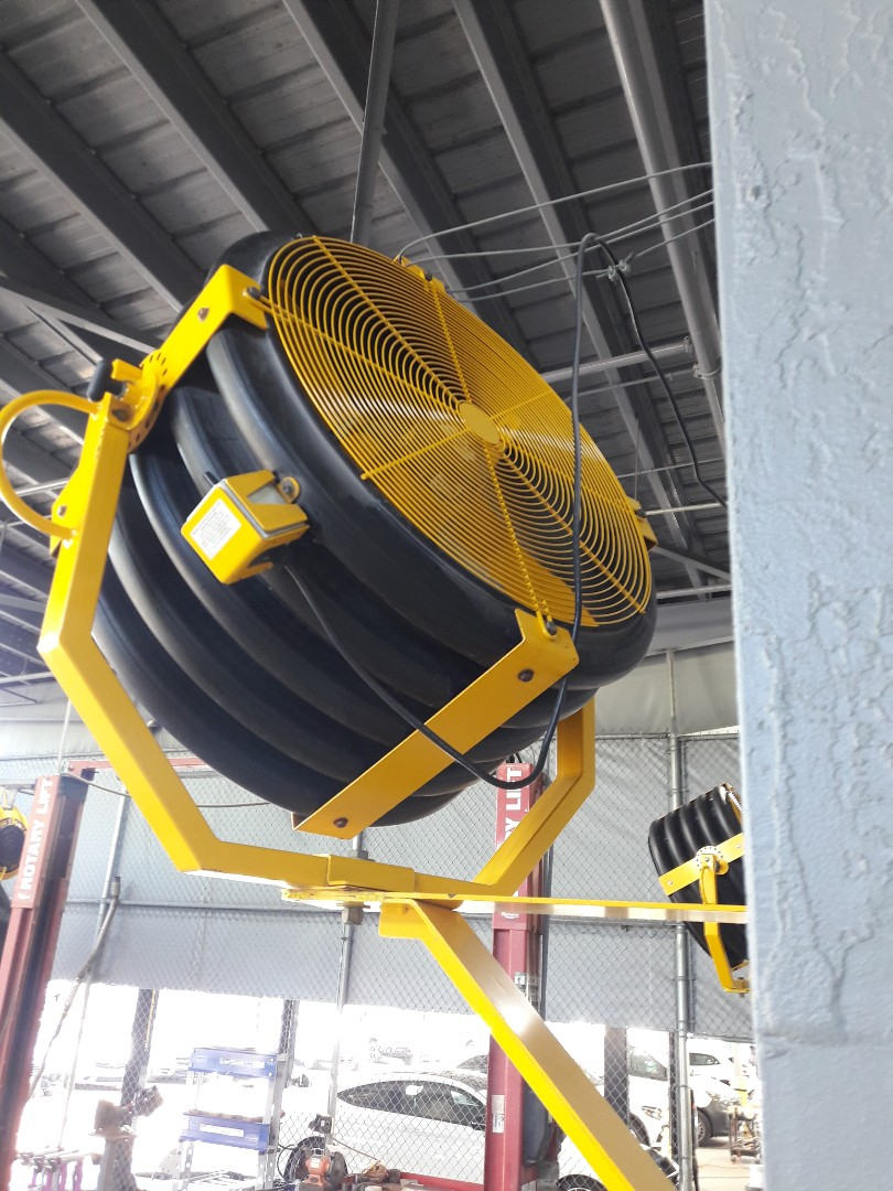 Cutler Bay, FL - Installing fan cages in Big Ass Fans. Mercedes-Benz Body Shop Cutler Bay Fl 33157