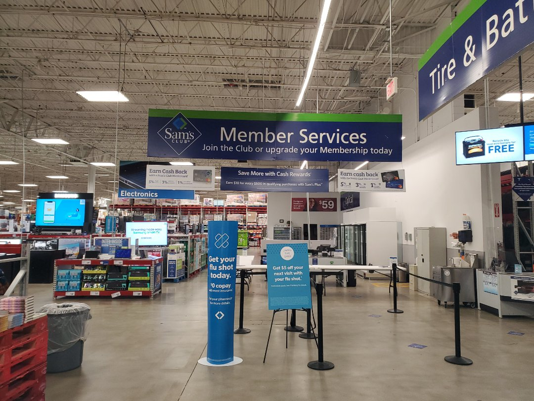 Moved member services sign about 60ft.