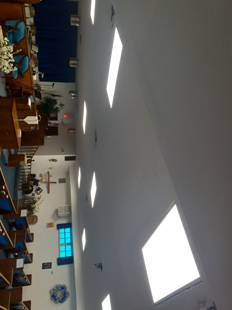 Installing 2x4 LED lay-in fixtures. Glendale Baptist Church  of Brownsville  Miami Fl 33142