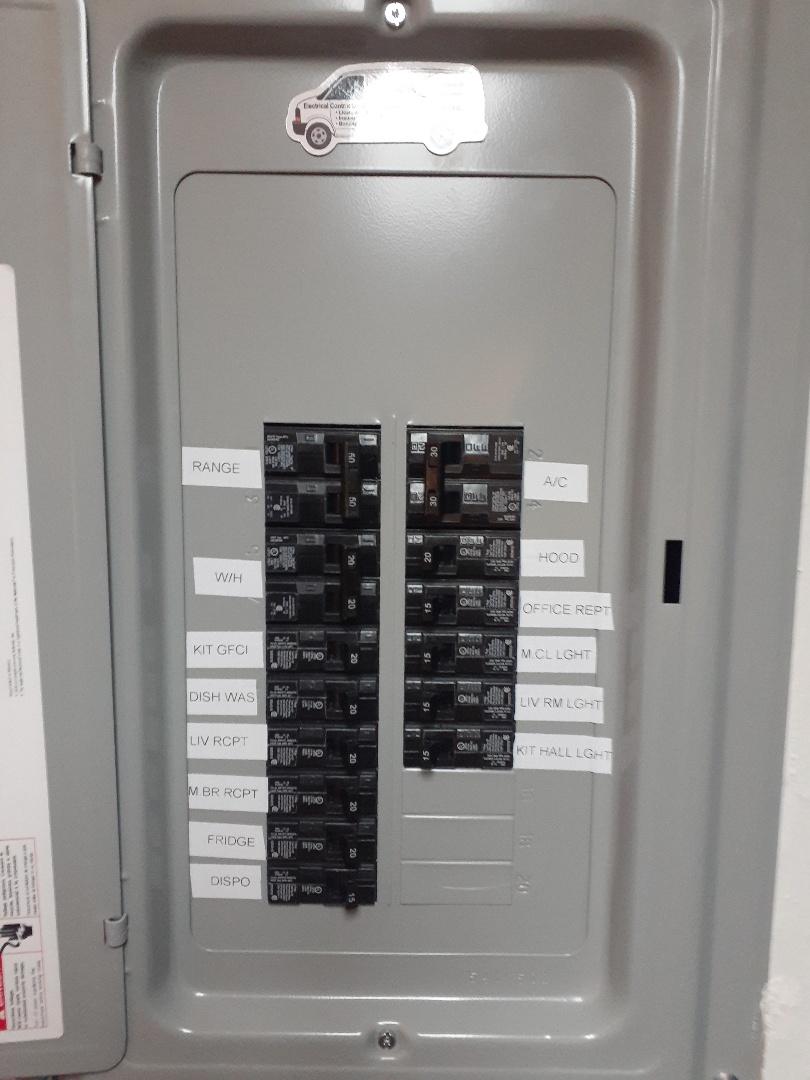 Miami, FL - Label new electrical panel install. Miami Fl 33145