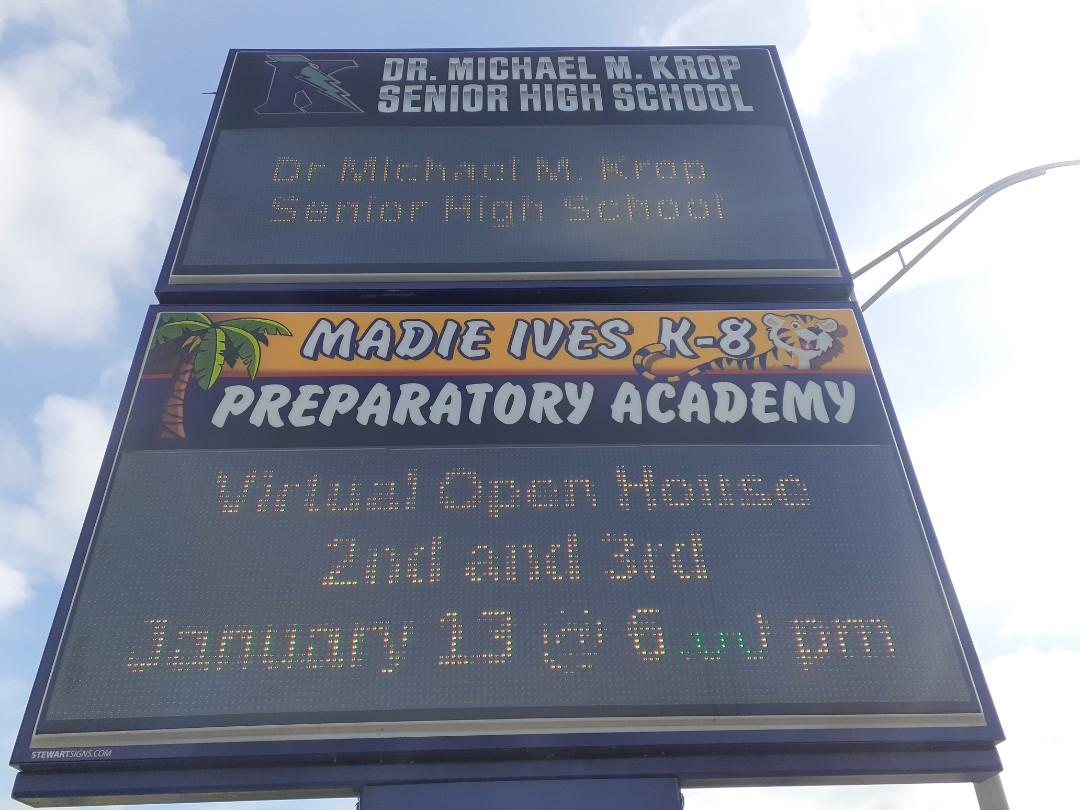 North Miami Beach, FL - Repairing LED sign at Dr.Michael M.Krop Senior High School  Miami Gardens Fl 33179