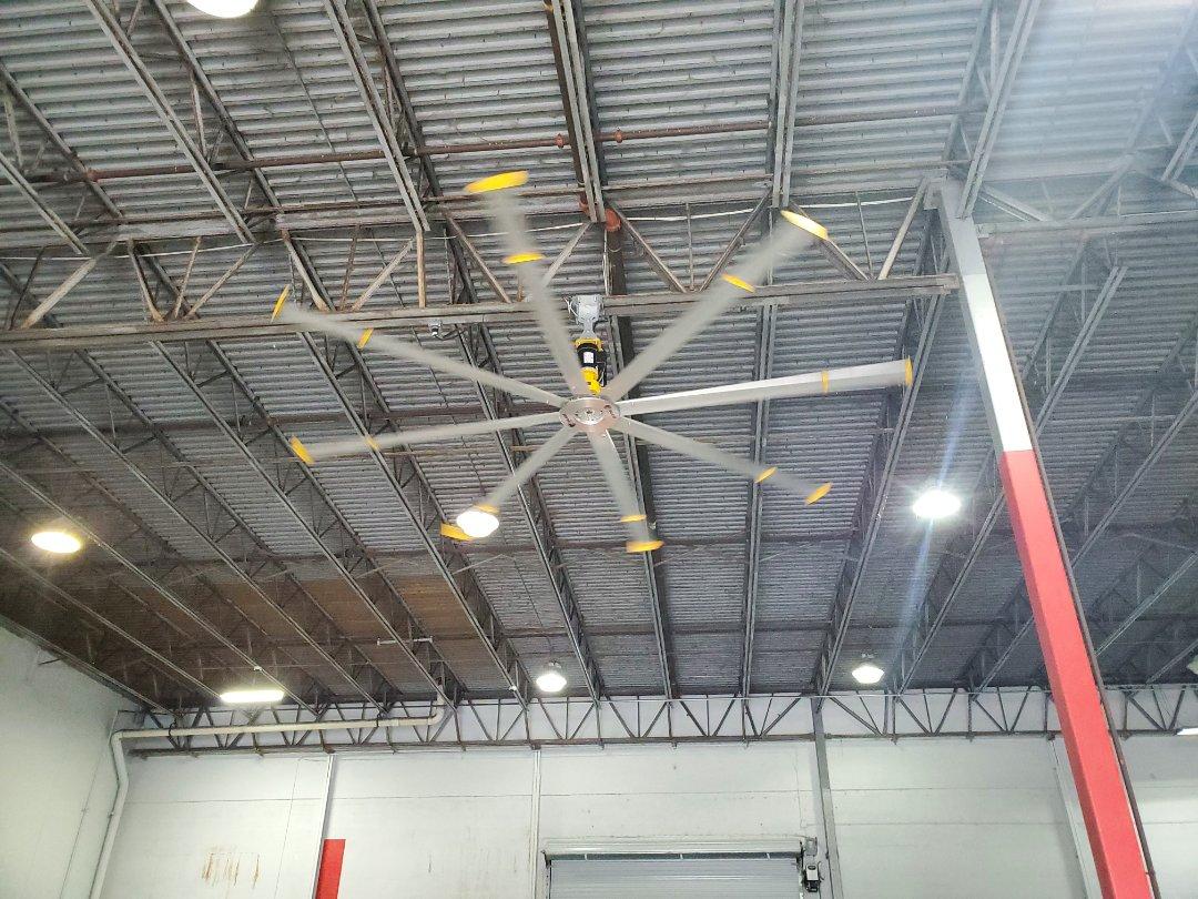 Preventative maintenance on big ass fan at nestle warehouse.