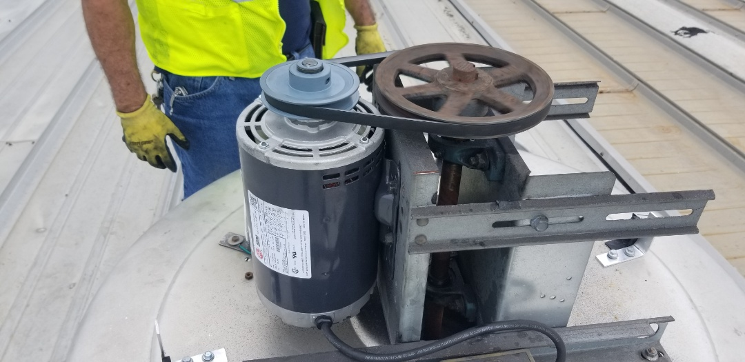 Fort Lauderdale, FL - Change motor for exhaust fan and changed belts at crowley in port everglades