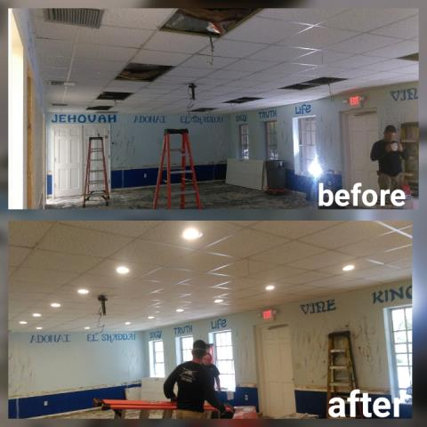 Energy efficient lighting installed by local electrician in Miami, FL.   For this client we removed fluorescent bulb fixtures and updated to recessed lighting.   Give us a call for an electrical light fixture replacement quote or if you want to learn about new high efficient LED and recessed lighting.