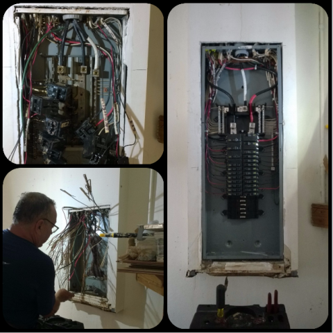 Coconut Creek, FL - Residential licensed electrician replacing a faulty panel with a brand new Square D QO panel.