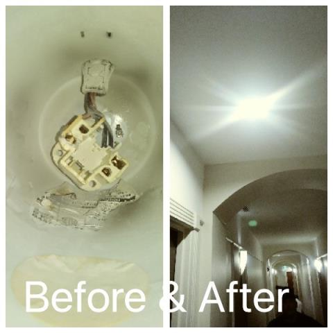 Commercial electrician Miami, FL | Electrical Maintenance on Hotel | Replacing light fixture for customer
