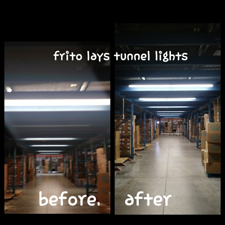 Industrial Electrical Contractor Miami, FL | Installing big ass lights in frito lays distribution tunnel.