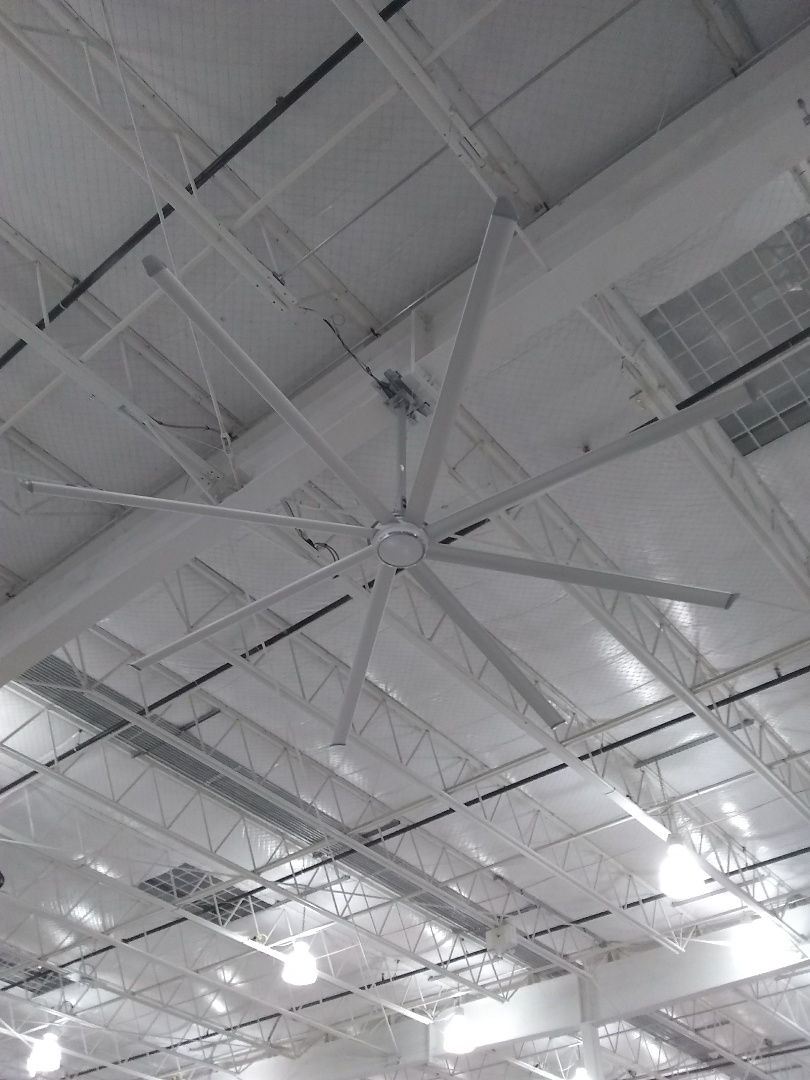 Miami, FL - Electrical Contractor Miami, FL | Big Ass Fan installation in manufacturing facility.