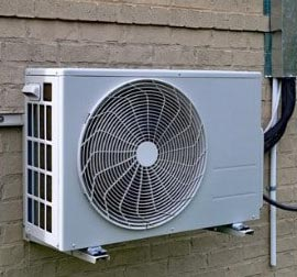 Conventional split heat pumps and central air conditioning systems use forced air through ducts.
