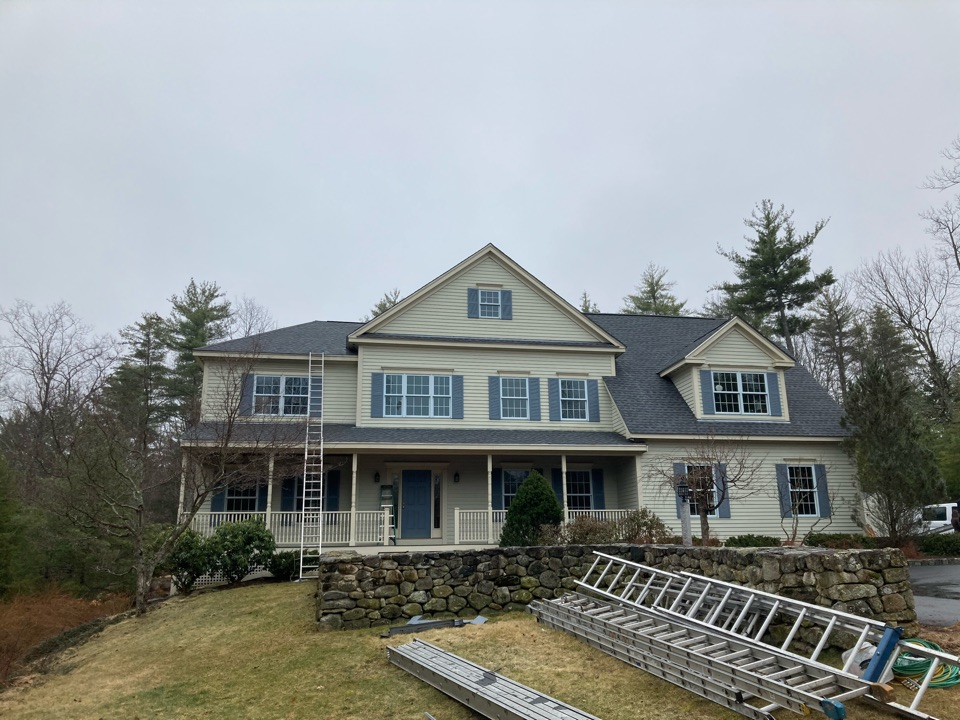 Bedford, NH - Finishing up another roofing installation in Bedford NH. GAF Timberline HDZ Pewter Grey. Call us if you are looking for a roofing contractor in New Hampshire.
