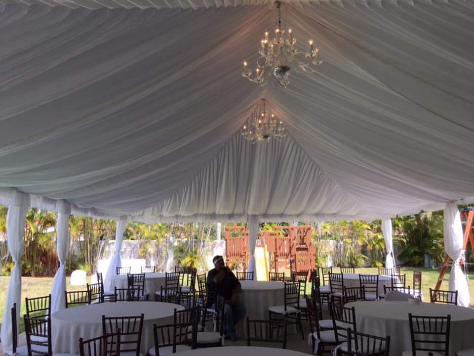 Tent, tables, chairs, linens, tent liner, dance floor for wedding