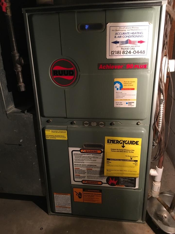Maintenance on a ruud furnace