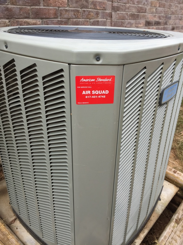 Roanoke, TX - Installed used a/c condenser and thermostat. American Standard. Air Squad