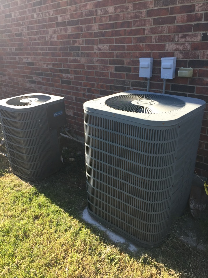 Haslet, TX - Changed a voltage capacitor on the upstairs system. Found the downstairs system to be completely out of refrigerant. I charged the system and now both systems are functioning properly!