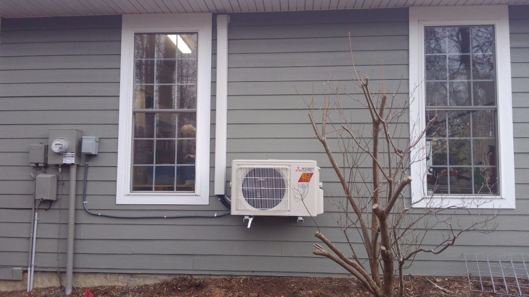 Flat Rock, NC - Installed new Mitsubishi mini split hyper heat ductless heat pump. Installed new stove vent