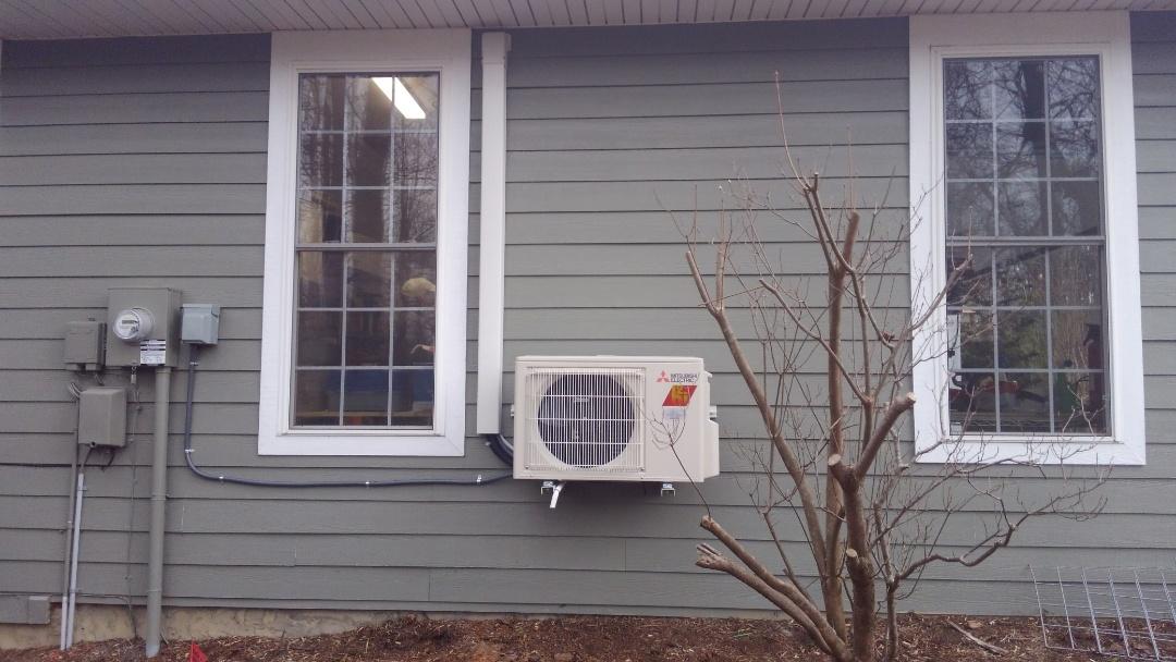 Installed new Mitsubishi mini split hyper heat ductless heat pump. Installed new stove vent