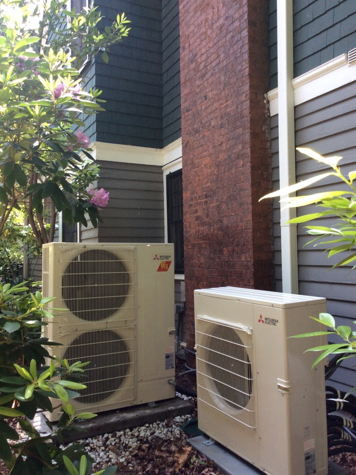 Asheville, NC - Spring tuneup on 2 Mitsubishi hyper heat heat pumps that connect to 9 indoor air handler power heads. Test air conditioning and condensate pumps and drain systems. Treated system with anti algae tabs