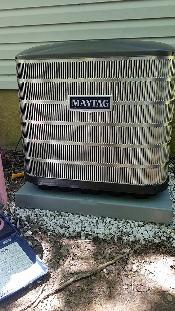 Zirconia, NC - Hvac residential installation Maytag brand 15 SEER air conditioner with 2 stage variable speed high efficiency furnace