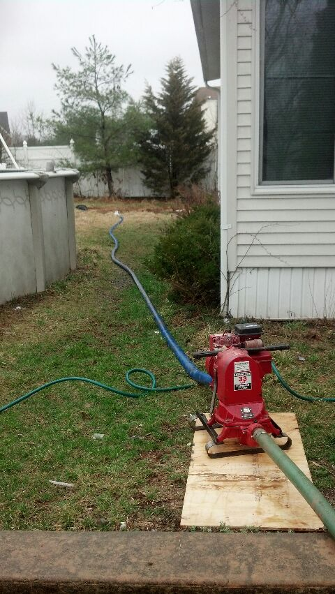 Franklin Township, NJ - pumping water  out from a homeowner basement