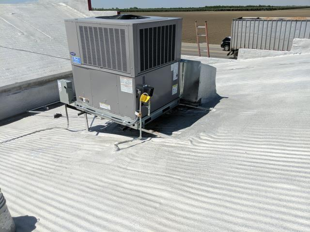 Firebaugh, CA - Replace HVAC unit with a new Carrier 5 ton roof top unit.
