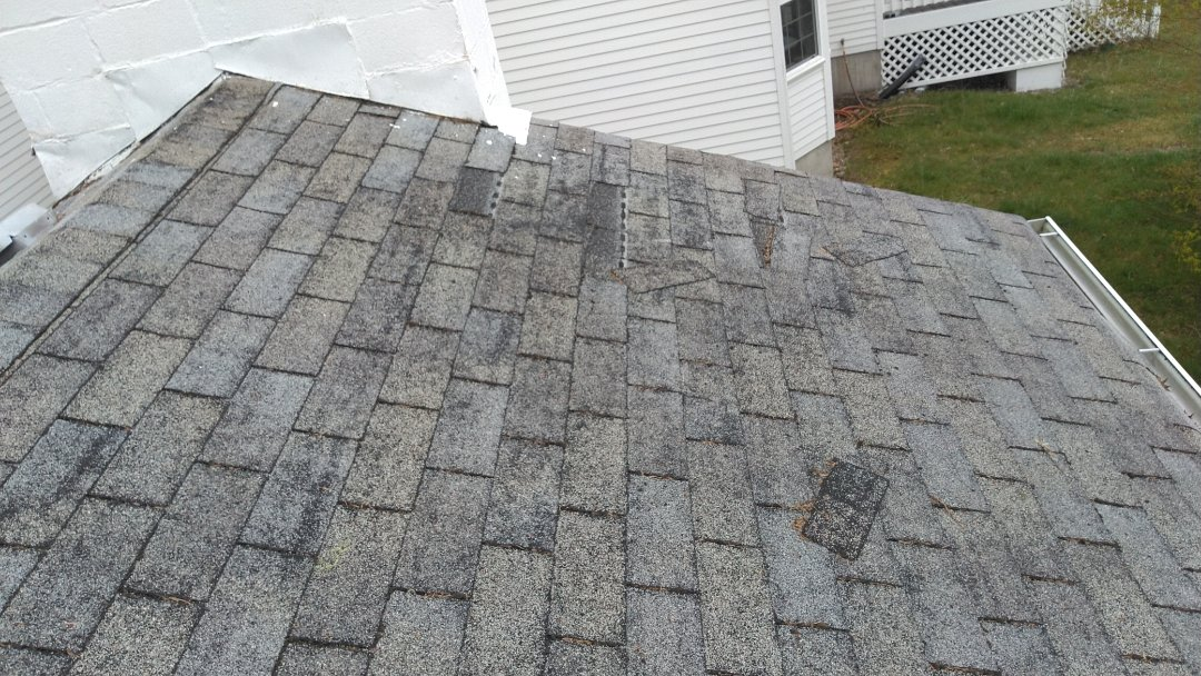 Shelton, WA - 3-tab shingles are breaking off our customers home. After 20 years of wear on fiberglass shingles this starts to happen with our weather in Washington. A new 50 year Rubber shingle will solve that problem.