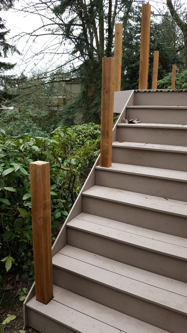 Mercer Island, WA - Sandy Birch decking, Timber Tech  Terrain ready for the composite rail
