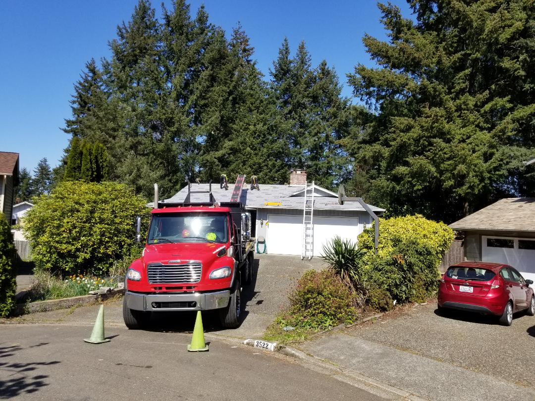Bellevue, WA - Loading a job in Bellevue. 50 year shingle and Leaf Terminator system.
