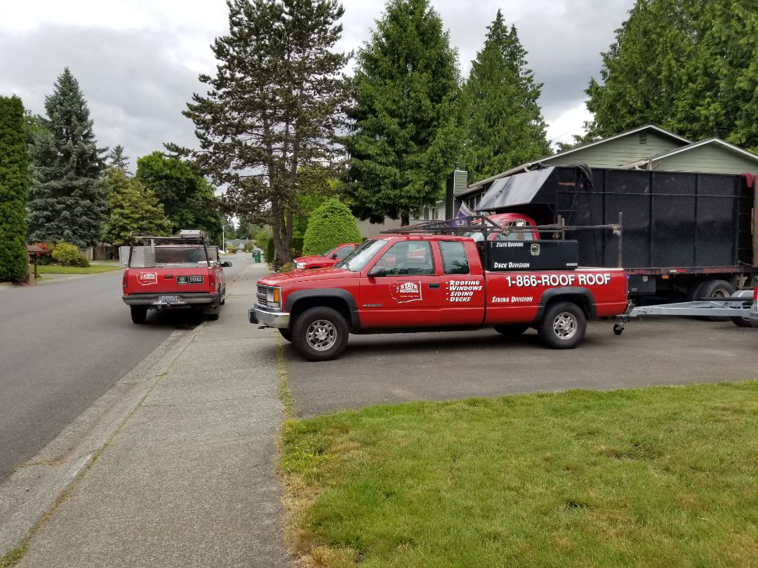 Bothell, WA - The State Roofing team is starting a new deck in the Bothell area. Call today to create your backyard oasis.