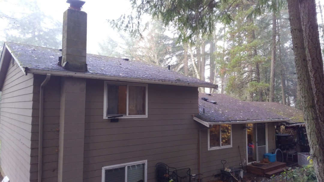 Olympia, WA - Metal or Rubber based shingles will be the answer for our customer on the outskirts of Olympia in the trees. Lots of moisture.