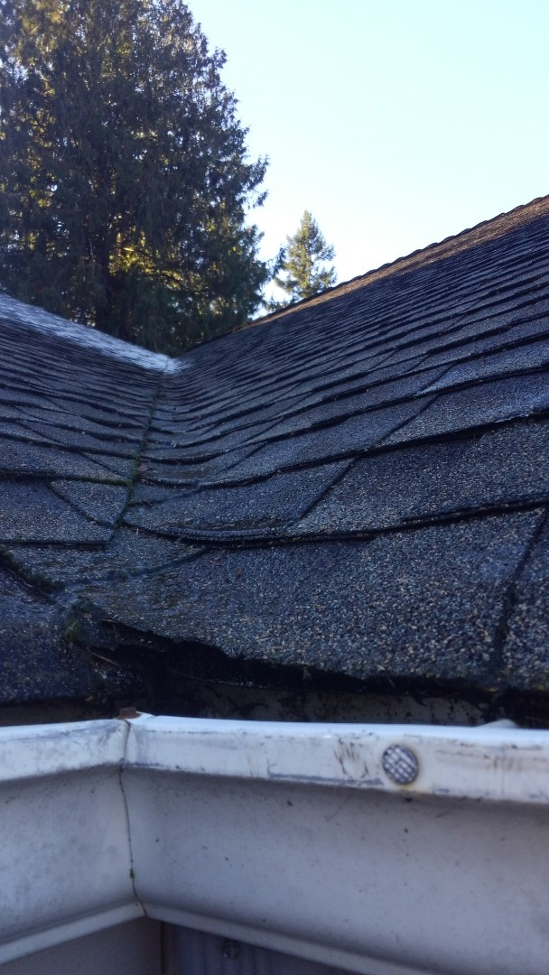 Gig Harbor, WA - Another valley leak in need of metal valleys on our customers home out here in Gig Harbor. New rubber shingles are going to look good too.