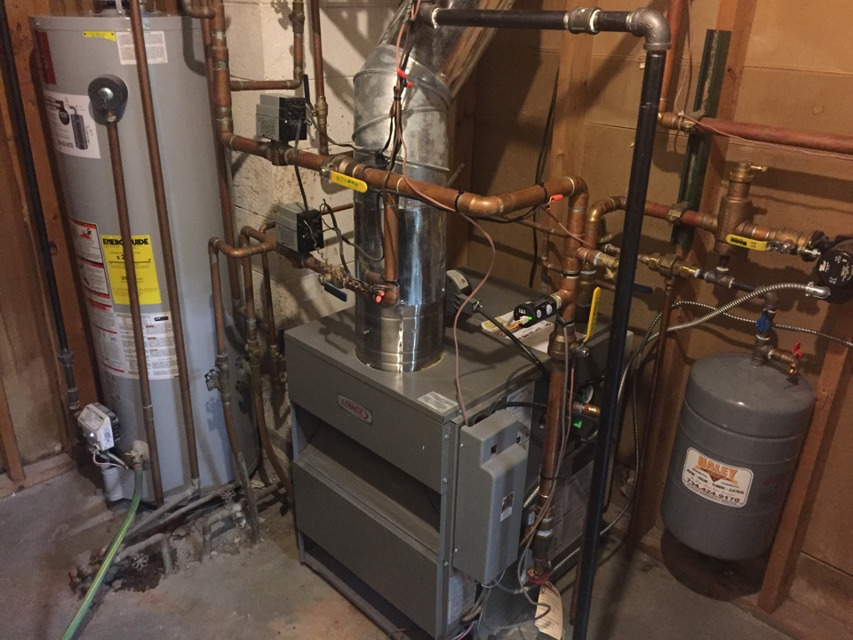 Belleville, MI - Lennox hot water boiler clean and check and a water heater flush.