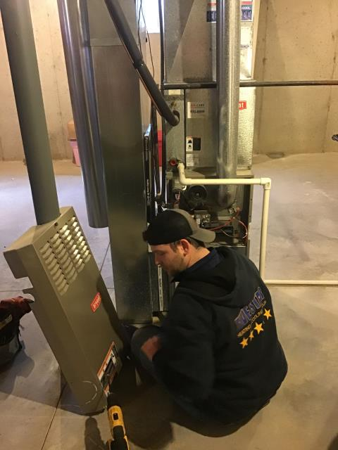 Waynesville, OH - Upon arrival, found furnace to be flashing error code 31. Pressure switch open. Pulled pressure switch hose to test for clogs, no clogs found. Filter was found to be dirty. Replaced.Blower capacitor was reading 7.9/10 (bad Replaced with cap reading 10.23/10 (good). Pulled/cleaned flame sensor, now reading 4.4ma (good). Combustion analysis had readings we would expect in a unit this old. Customer had coupon for free diagnostic call with paid repair, price of call waived. Upon departure unit is operating as expected.