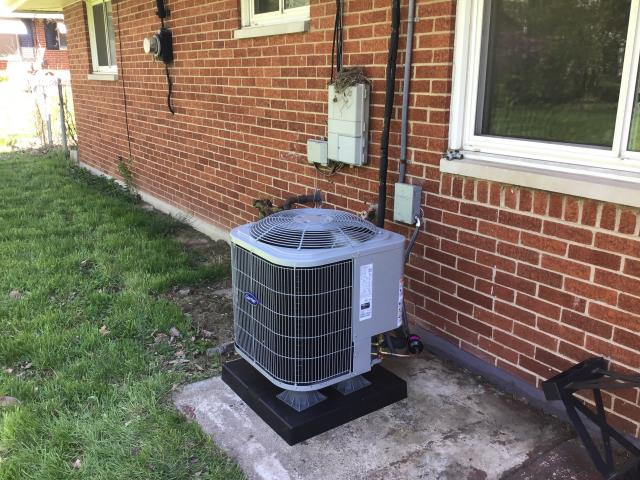 Dayton, OH - Installing a Carrier 80% 70,000 BTU Gas Furnace & a Carrier 13 SEER 2 Ton Air Conditioner for the Customer.