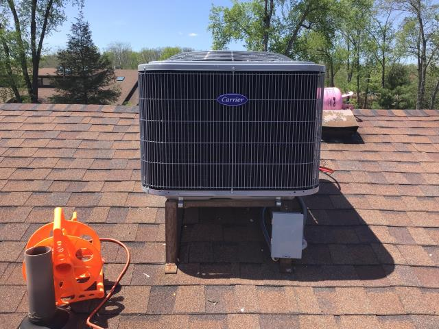 Dayton, OH - Installing a Carrier 13 SEER 3 Ton Air Conditioner for the Customer.