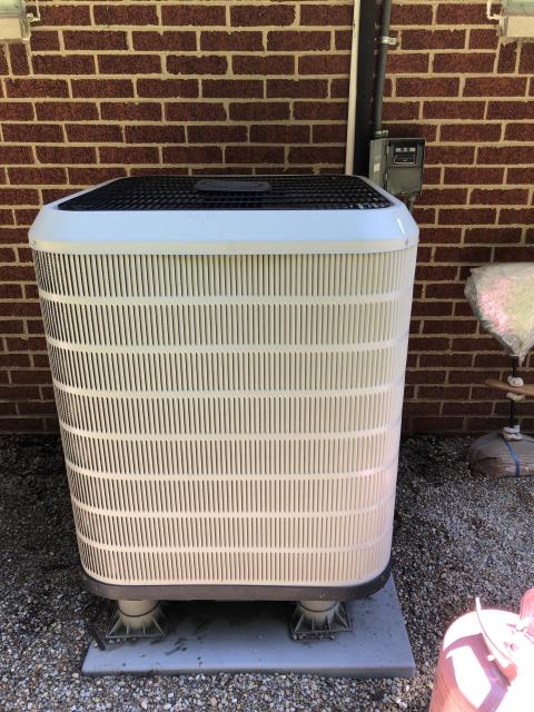 Centerville, OH - Upon arrival client stated unit froze up. Washed 2012 Frigidaire AC outdoor unit with garden hose. Checked refrigerant levels and found system to be extremely low. Added 4.5 lbs of Refrigerant R-410A Puron. Unit operational at time of departure.