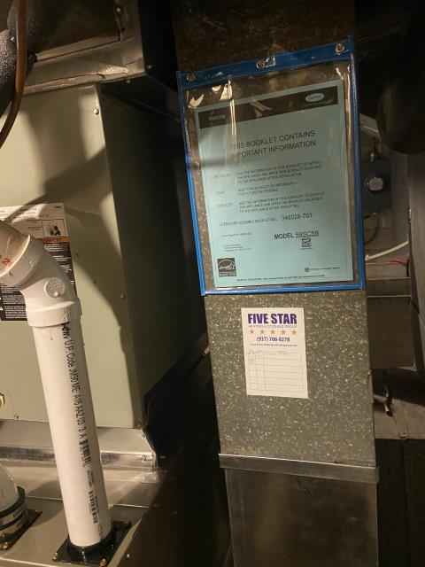 Trotwood, OH - Upon arrival, I found that the Five Star gas furnace was not putting out heat. I fixed the slopping flue pipe and then found that the pressure switches have water in them and will need replaced. I will order parts and return to finish repairing furnace.