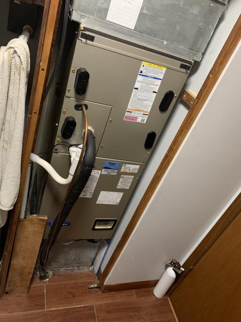 Beavercreek, OH - Upon arrival, checked float switch and found water in it, also no clean out after trap. Cut drain out and let coil pan drain. Redid drain with new trap and clean out. Filled trap with water till pump filled and drain to test. Turned unit back on and tested. Unit in working order. Tested with customer.