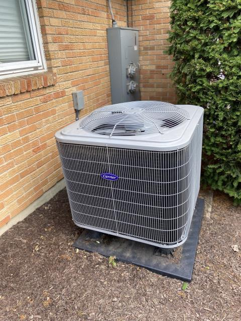 Dayton, OH - I arrived on site to perform a diagnostic on a  Carrier 15 SEER 2 Ton Heat Pump that we installed. During the diagnostic I found that the unit's evaporator coil drain was clogged, causing condensation to leak everywhere. I cleaned out the coil and the unit was running at full functionality at the time of departure.