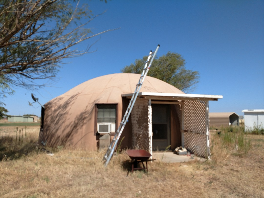 Lubbock, TX - Giving a roof estimate for a existing PVC roofing system over a concrete dome building. Going to give an estimate for a coding system or a TPO roof system over existing system.