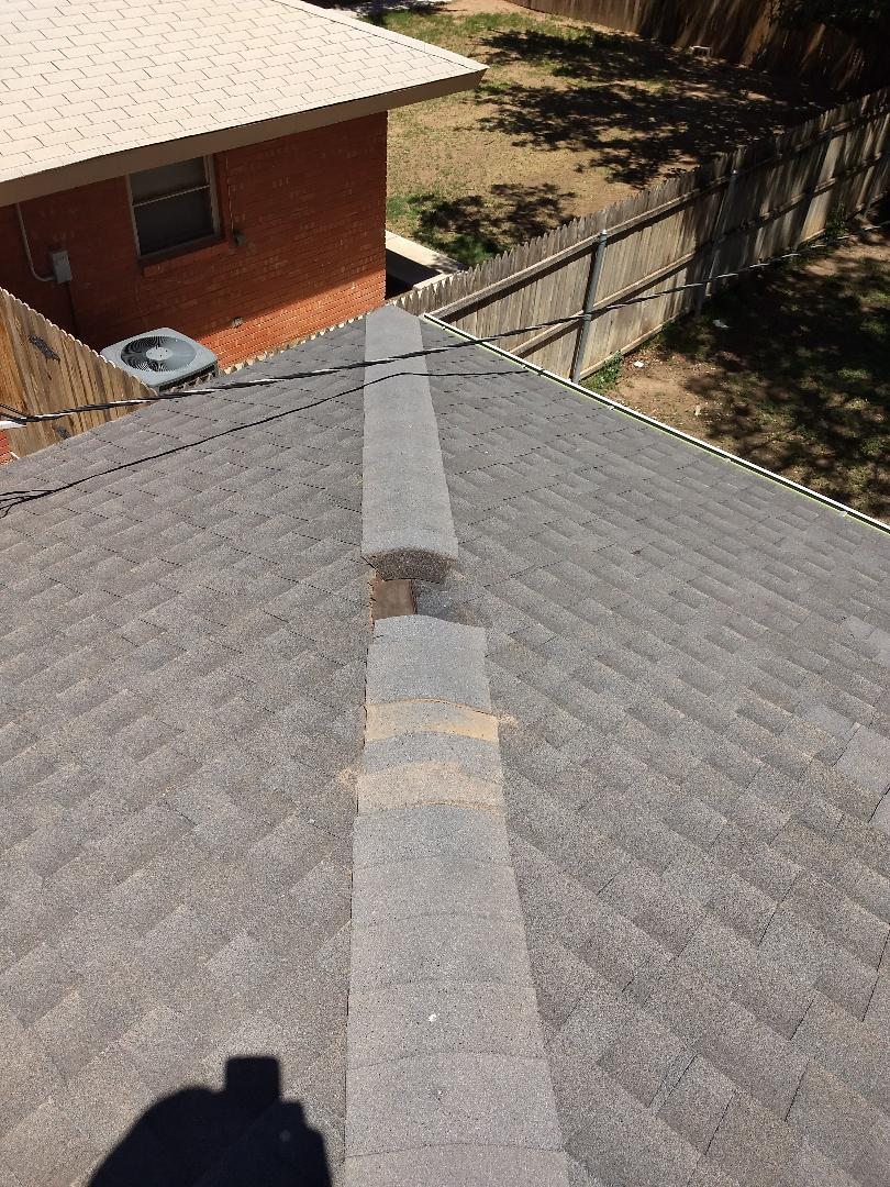 Lubbock, TX - Ridge shingle repair