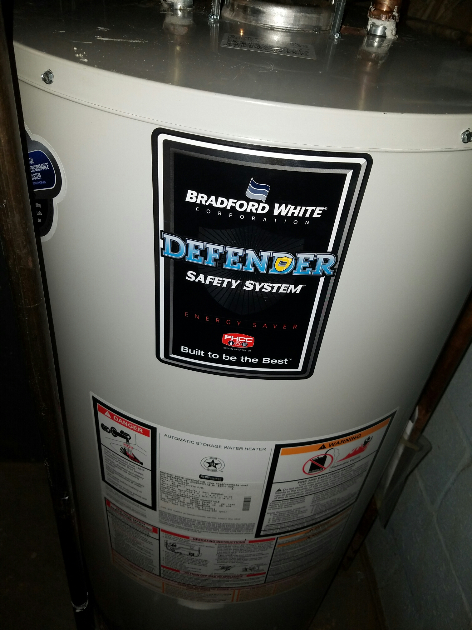 South Brunswick Township, NJ - Remove A.O. Smith water heater install Bradford White 40 gallon  Water heater clean and service Ruud Furance Check and charge r22 Ruud Air Conditioning condenser