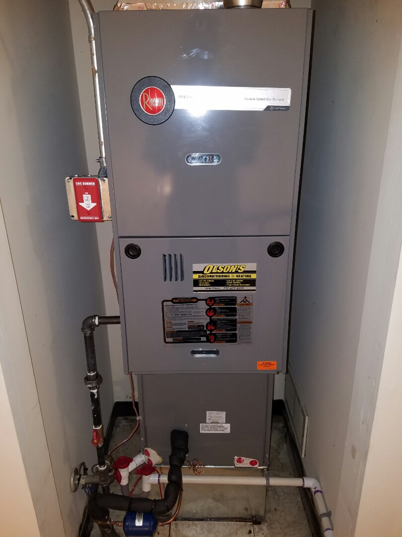 Franklin Township, NJ - Remove Rheem furnace and air conditioning install new heating and air conditioning Rheem furnace and coil install Rheem 16 seer condenser install condensate drain trap check and charge air conditioning and check heat