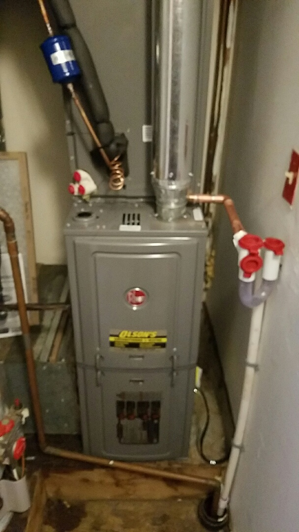 South Brunswick Township, NJ - Remove trane furance and air conditioning install rheem furance and coil and condenser check and charge air conditioning install condensate trap
