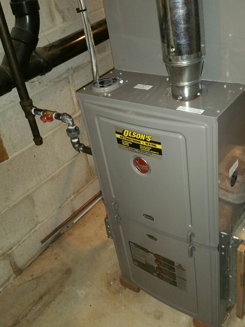 South Brunswick Township, NJ - Install Rheem 75k btu furnace with 3 ton coil and condenser install condensate trap check and test heat check and charge  air conditioning