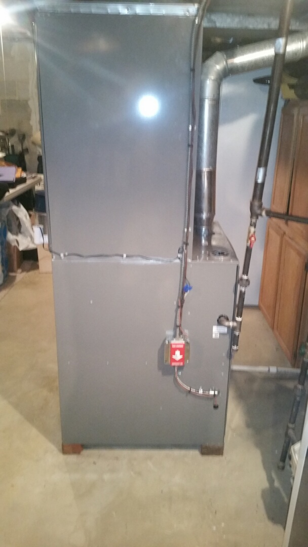 South Brunswick Township, NJ - Install new Rheem furnace with 3 1/2 ton condenser and Rheem coil install condensate safety switch check and test heat check and charge air conditioning